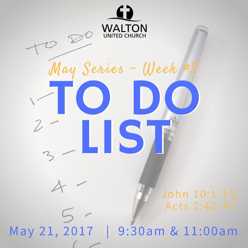To Do List - May 21 @ Walton United Church, Oakville, Ontario