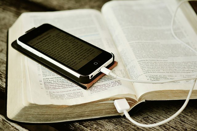 Smartphone plugged into a Bible @ Walton United Church, Oakville, Ontario